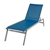 Bain de soleil en métal et toile GoodHome Batz bleu