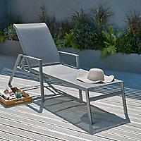 Bain de soleil métal et toile Blooma Swindon gris acier