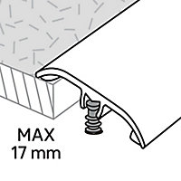 Barre de seuil en aluminium décor argent foncé brossé GoodHome 37x1800mm