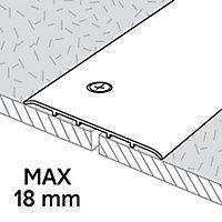 Barre de seuil extra-large en aluminium décor métal mat GoodHome 100x2700mm