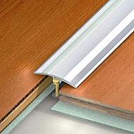 Barre de seuil multi niveaux en aluminium, coloris alu naturel strié 4,1x270 cm.