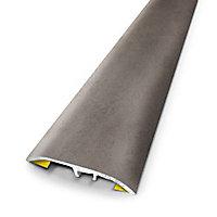 Barre de seuil universelle en métal coloris béton 83 x 3,7 cm.