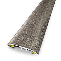 Barre de seuil universelle en métal coloris rabote gris 83 x 3,7 cm.