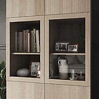 Bibliothèque effet chêne avec 2 portes vitrées GoodHome Atomia H. 225 x L. 100 x P. 47 cm
