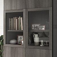 Bibliothèque effet chêne grisé avec 2 portes vitrées GoodHome Atomia H. 225 x L. 100 x P. 47 cm