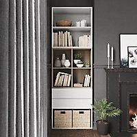 Bibliothèque semi ouverte blanche et effet chêne 4 portes 2 tiroirs GoodHome Atomia H. 225 x L. 75 x P. 37 cm