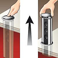Bloc 4 prises encastrable finition métallisée OTIO