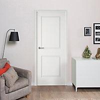 Bloc-porte blanc 2 panneaux pleins 63 cm poussant droit