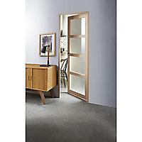 Bloc-porte plaqué hêtre 4 carreaux vitrés H.204 x l.93 cm, poussant droit