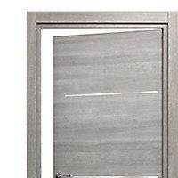 Bloc-porte Triaconta gris clair H.204 x l.73 cm, poussant droit
