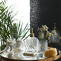 Boîte à coton verre Lismore transparente