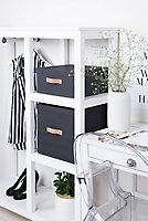 Boîte de rangement carrée avec couvercle Mixxit coloris noir