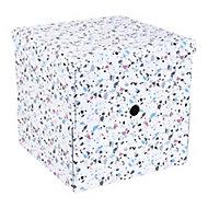 Boîte de Rangement carrée avec couvercle Terrazzo coloris blanc