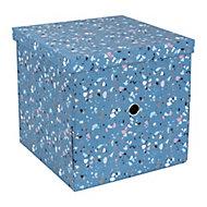 Boîte de Rangement carrée avec couvercle Terrazzo coloris bleu