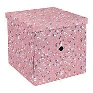 Boîte de Rangement carrée avec couvercle Terrazzo coloris corail