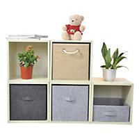 Boîte de rangement carrée en feutrine Mixxit coloris gris
