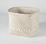Boîte de rangement carrée en jonc de mer Mixxit coloris blanc