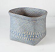 Boîte de rangement carrée en jonc de mer Mixxit coloris bleu