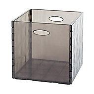 Boîte de rangement carrée en plastique Mixxit coloris fumé