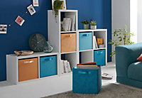 Boîte de rangement carrée en textile Form Adèle coloris bleu motif jungle