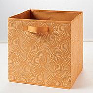 Boîte de rangement carrée en textile Form Adèle coloris jaune motif jungle