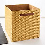 Boîte de rangement carrée en textile Mixxit coloris jaune
