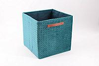 Boîte de rangement carrée en textile Mixxit coloris vert
