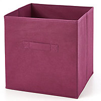 Boîte de rangement carrée en textile Mixxit couleur cerise