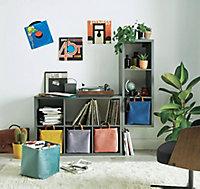 Boîte de rangement carrée pliable en velours coloris bleu