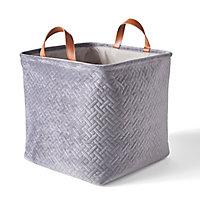 Boîte de rangement carrée pliable en velours coloris gris