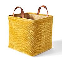 Boîte de rangement carrée pliable en velours coloris jaune