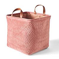 Boîte de rangement carrée pliable en velours coloris rose