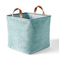 Boîte de rangement carrée pliable en velours coloris vert