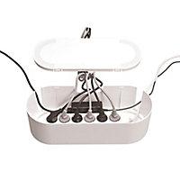 Boîte de rangement de câbles blanc D-Line L. 415 x l. 165 mm, bloc 6 prises