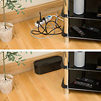 Boîte de rangement de câbles noir D-Line L. 325 x l. 125 mm, bloc 4 prises