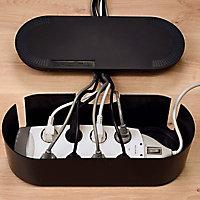 Boîte de rangement de câbles noir D-Line L. 415 x l. 165 mm, bloc 6 prises