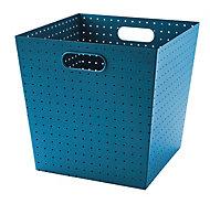 Boîte de rangement en métal perforé Mixxit coloris bleu