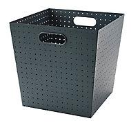 Boîte de rangement en métal perforé Mixxit coloris gris