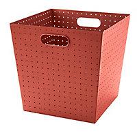 Boîte de rangement en métal perforé Mixxit coloris rouge