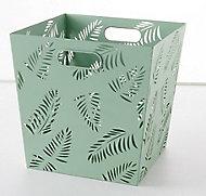 Boîte de rangement en métal perforé motif feuilles Mixxit coloris vert