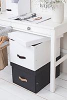 Boîte de rangement rectangulaire avec couvercle Tora coloris blanc