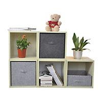 Boîte de rangement rectangulaire en feutrine Mixxit coloris gris