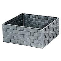 Boîte de rangement rectangulaire en tissu tressé Mixxit coloris gris