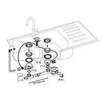 Bonde à panier avec commande à câble 90mm, trop-plein et siphon extra-plat blanc Wirquin