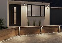 Borne extérieure et potelet LED intégrée Arrondie 1200lm 23W IP54 95.4x9.5cm Gris