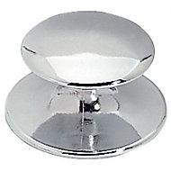 Bouton adhésif métal chromé mat