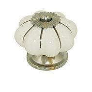 Bouton de meuble céramique Colours Roza blanc argenté Brilliant Ø40 mm