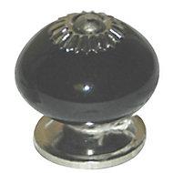 Bouton de meuble porcelaine COLOURS Dulce noir Ø39 mm