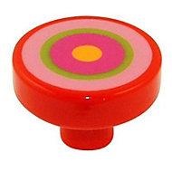 Bouton de meuble résine COLOURS Circle rayure rose Ø38 mm