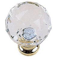 Bouton facette acrylique transparent Ø28mm